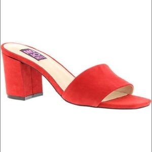 Mojo Moxy Ceci Red Suede Leather Mule Slide
